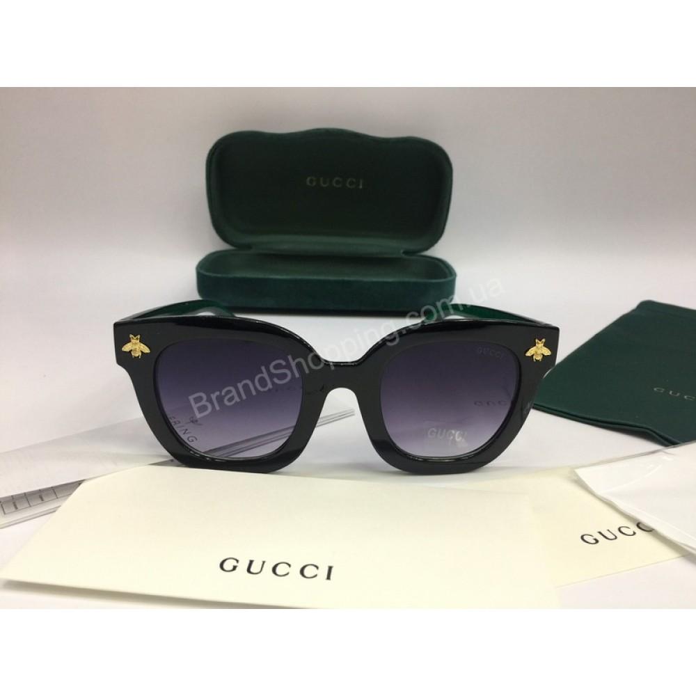 NEW 2018 Очки солнцезащитные Gucci Lux женские в полном комплекте с зеленой дужкой арт 2057