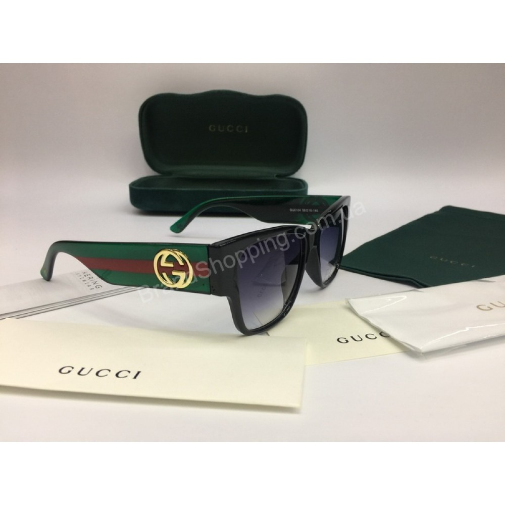 NEW 2018 Очки солнцезащитные Gucci Lux женские в полном комплекте с зеленой дужкой арт 2059