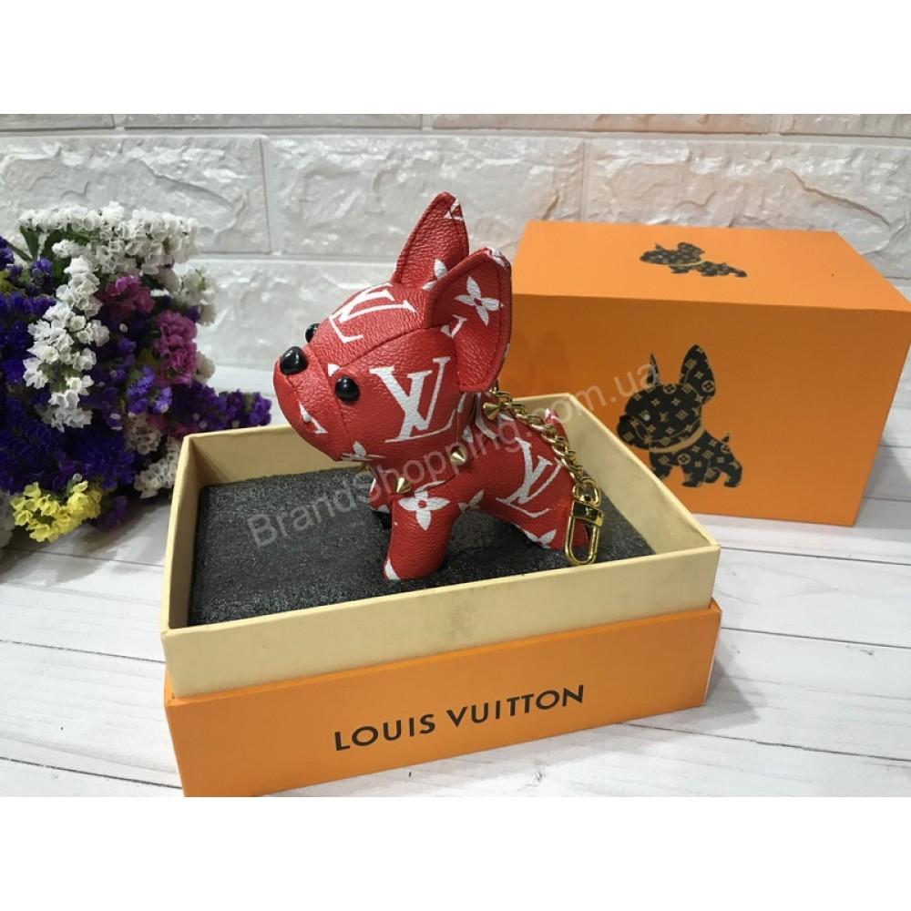 Стильный брелок Louis Vuitton Dog в красном цвете арт 20596