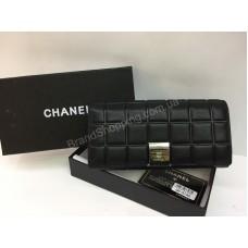 Женский кошелек  Chanel в полном люкс комплекте из натуральной кожи в черном цвете арт 20180