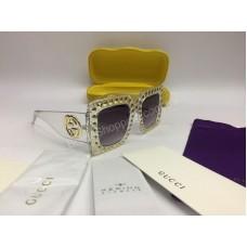 NEW 2018 Очки солнцезащитные Gucci в прозрачной оправе с темными стеклами  полный комплект арт 2071