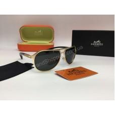 Новинка 2018 солнцезащитные мужские очки Hermes в металлической оправе золотого цвета арт 2072