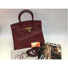 Кожаная сумка Hermes Birkin Lux 30 см цвет марсал 1359