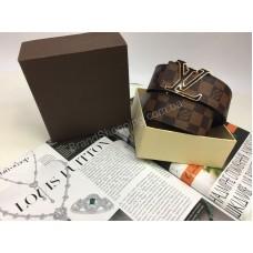 Брендовый ремень Louis Vuitton Lux качество полный комплект коричневая клентка