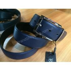 Двусторонний кожаный ремень Alon 0848 синий/черный ширина 3,5см