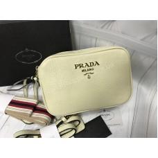 Стильная сумочка Prada Lux из натуральной кожи в белом цвете арт 20468