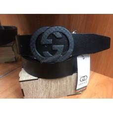 Кожаный ремень Gucci черный ширина 4 см 0715