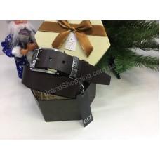 Оригинальный ремень Armani ширина 4см из натуральной цельной кожи в подарочной упаковке  цвет коричневый1702