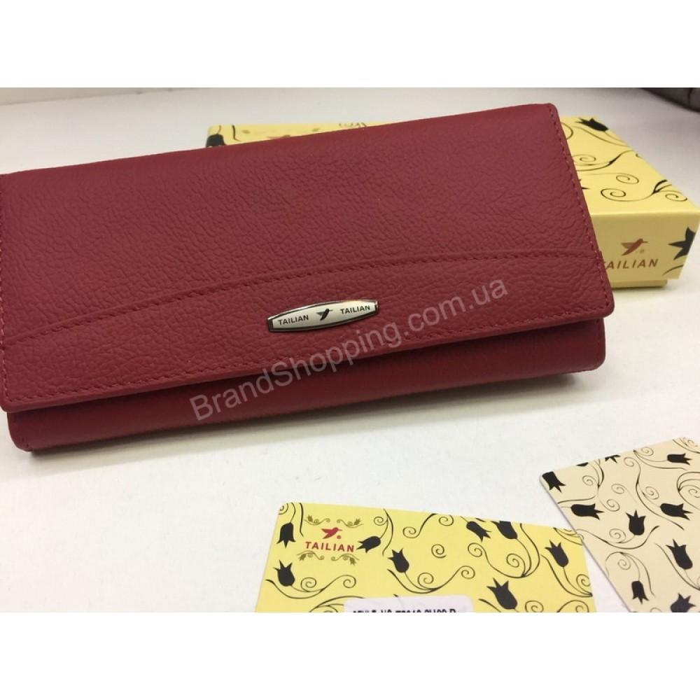 Женский кошелек TAILIAN из натуральной кожи в подарочной упаковке в красном цвете арт 20189